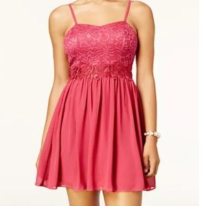 BCX fit and flare lace dress with sweet heart neck